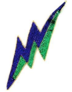 "E827 Mardi Gras Lightning Bolt Beaded Sequin Applique 11"""