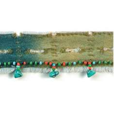 P6062 Denim Beaded Fringe Trim Pre-Cut 36""