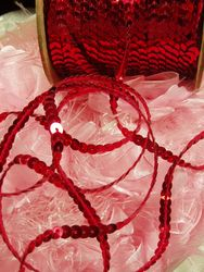 SS  3 Yards Red Sequin Strand 6mm Trim
