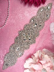 """XR205 DIY Bridal Sash Applique Silver Beaded Crystal Clear Glass Rhinestone 13.5"""""""