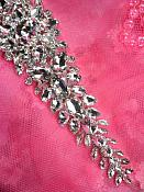TS150 Bridal Sash Silver Beaded Glass Rhinestone Applique 17""