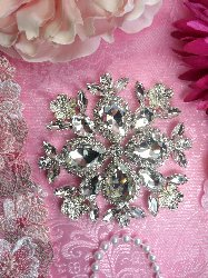 TS165 Flower Silver Crystal Rhinestone Applique Embellishment  4""