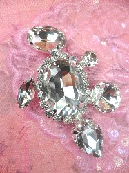 "STS195 Petite Crystal Clear Rhinestone Embellishment Designer Metal Back 2.5"""