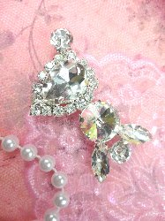 STS198 Petite Crystal Clear Rhinestone Embellishment Designer Metal Back 2""