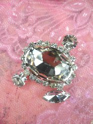 "STS203 Crystal Clear Glass Rhinestone Embellishment Designer Metal Back 1.5"""