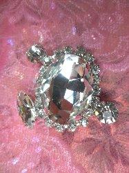 "STS212 Crystal Clear Rhinestone Embellishment Designer Metal Back 1.25"""