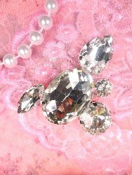 STS220 Petite Crystal Clear Rhinestone Embellishment Designer Metal Back 2""