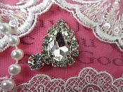 "Tear Drop Petite Crystal Clear Rhinestone Embellishment Designer Silver Metal Back 1.5"" (STS234-slcr)"