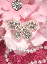 XR133 Butterfly Bow Silver Beaded Crystal Rhinestone Applique 1.75""