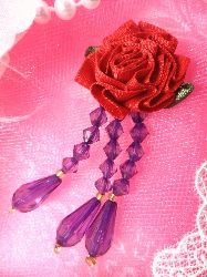 VD1  Red Hat Purple Red Dangle Beaded Applique 3""