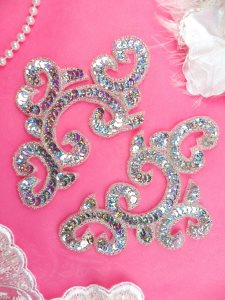 """0242 Sequin Beaded Appliques Silver Holographic Mirror Pair Patch 6"""""""