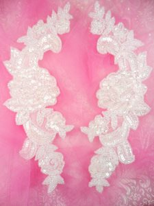 """0280 Sequin Appliques Crystal Beaded Rose Floral Mirror Pair Bridal Patch 9.5"""""""