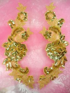 """0280 Sequin Appliques Gold Beaded Rose Floral Mirror Pair Bridal Patch 9.5"""""""