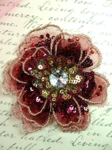 """GB421 Sequin Applique Floral 3D Burgundy Rhinestone Embroidered Patch 4"""""""