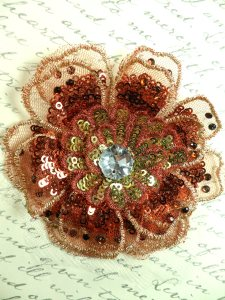 """GB421 Sequin Applique Floral 3D Copper Rhinestone Embroidered Patch 4"""""""