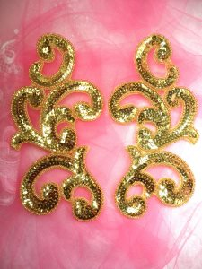 """JB252 Sequin Appliques Gold Beaded Scroll Mirror Pair Patch 7"""""""