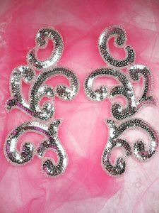 """JB252 Sequin Appliques Silver Beaded Scroll Mirror Pair Patch 7"""""""