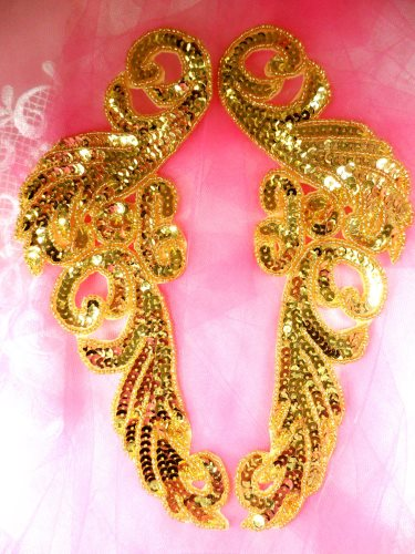 """JB253 Sequin Appliques Gold Beaded Mirror Pair Dance Patch 9"""""""