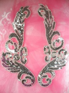 """JB253 Sequin Appliques Silver Beaded Mirror Pair Dance Patch 9"""""""
