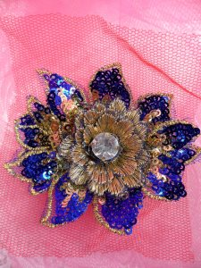 """GB412 Sequin Applique Floral 3D Blue Gold Rhinestone Center Embroidered Patch 3"""""""