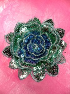 """GB409 Sequin Applique Floral 3D Teal with Turquoise Center Embroidered Patch 3"""""""