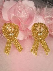 """AT8868  Set of (2) Gold  Beaded Appliques 1.75"""""""