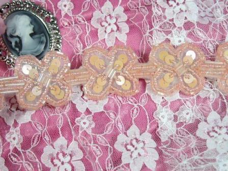 "T8918 Peach Pink  X Sequin Beaded Applique or Trim 1.5"""