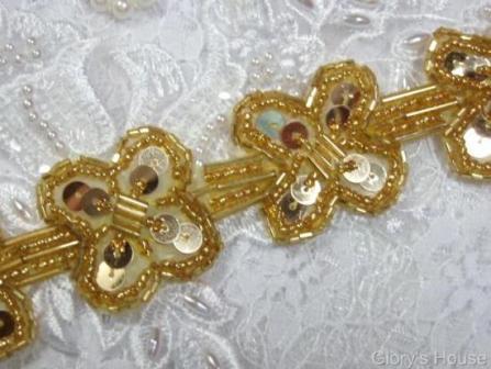 """T8918 Gold X Sequin Beaded Applique or Trim 1.5"""""""
