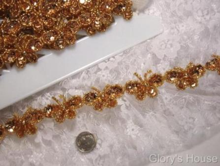 T9516  Gold Butterfly Sequin Beaded Applique or Trim