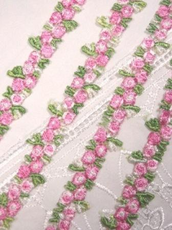 "C106  Pink Rose Venice Trim 0.75"""