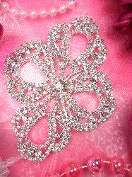 """TS105  Silver Crystal Rhinestone Applique Embellishment 4.5"""""""