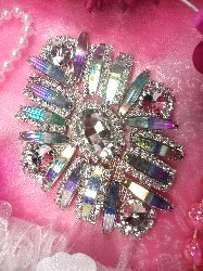 "TS106 Aurora Borealis Silver Crystal AB Rhinestone Applique Embellishment 4.25"""