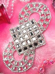 REDUCED RMTS108  Diamond Silver Crystal Rhinestone Applique Embellishment 6.5""