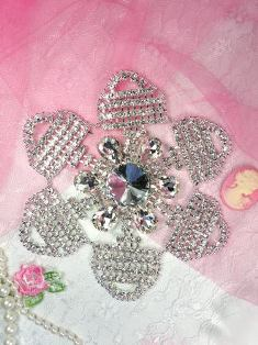 TS11 Silver Crystal Clear Rhinestone Applique Embellishment 5""