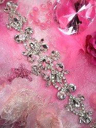 """TS116 Silver Crystal Clear Rhinestone Applique Embellishment 11"""""""