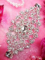"""TS118  Silver Crystal Rhinestone Applique Embellishment 5.75"""""""