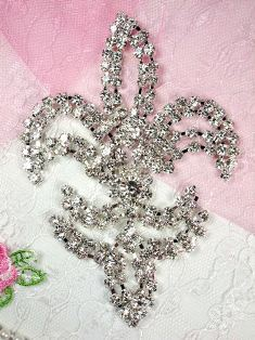 REDUCED RMTS13 Silver Crystal Clear Fleur De Lis Rhinestone Applique Embellishment 4.25""