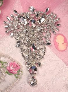 "REDUCED Silver Crystal Clear Rhinestone Applique Embellishment 4.75"" (RMTS14 )"