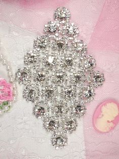 RMTS15 REDUCED Silver Crystal Clear Diamond Rhinestone Applique Embellishment 4.5""