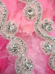 TS158 Crystal Clear Glass Rhinestone Floral Waves Trim Silver Beaded 1.25""
