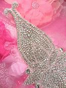 "TS160 Bridal Sash Silver Beaded Crystal Clear Glass Rhinestone Applique 13.75"""