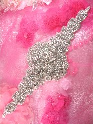 "TS163 Bridal Sash Silver Beaded Crystal Clear Glass Rhinestone Applique 14.5"""
