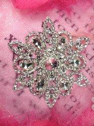 "TS164 ""Haley"" Designer Silver Crystal Glass Rhinestone Applique Embellishment 3.5"""