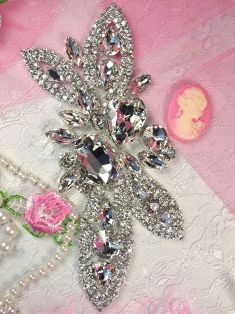 RMTS19   REDUCED Silver Crystal Clear Rhinestone Applique Embellishment  5.75""