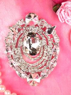 TS22 Silver Crystal Clear Rhinestone Applique Embellishment 3""