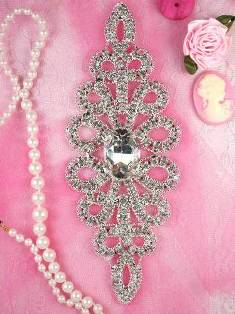 ( REDUCED) RMTS28-slcr Silver Crystal Clear Rhinestone Applique Embellishment 6""