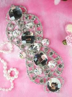 """TS33 Silver Crystal Clear Rhinestone Applique Embellishment 7.5"""""""