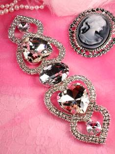 "TS42  Double Heart Crystal Clear Rhinestone Applique Embellishment 8"""