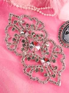 """TS43 Silver Crystal Clear Rhinestone Applique Embellishment 6.5"""""""