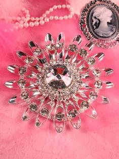 (REDUCED) AS IS  TS44 Silver Crystal Clear Rhinestone Applique Embellishment 4.25""
